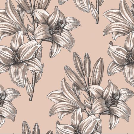 Fabric 16621 | Lilie na rozowym