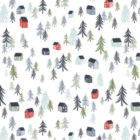 Tkanina 16735 |  Pattern with trees and houses000