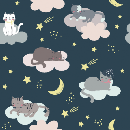 Fabric 16737 | Childish pattern with cats, clouds, moon and stars000