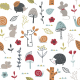Tkanina    Childish pattern with mouses, snail, hedgehogs and mushroom