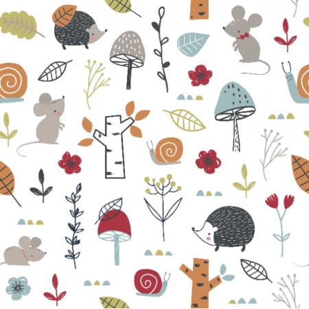 | Childish pattern with mouses, snail, hedgehogs and mushroom
