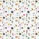 Tkanina  | Childish pattern with mouses, snail, hedgehogs and mushroom