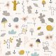 Tkanina 16743 | Childish pattern with mouses, snails and flowers0