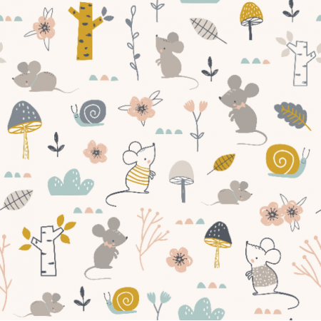 16743 | Childish pattern with mouses, snails and flowers0