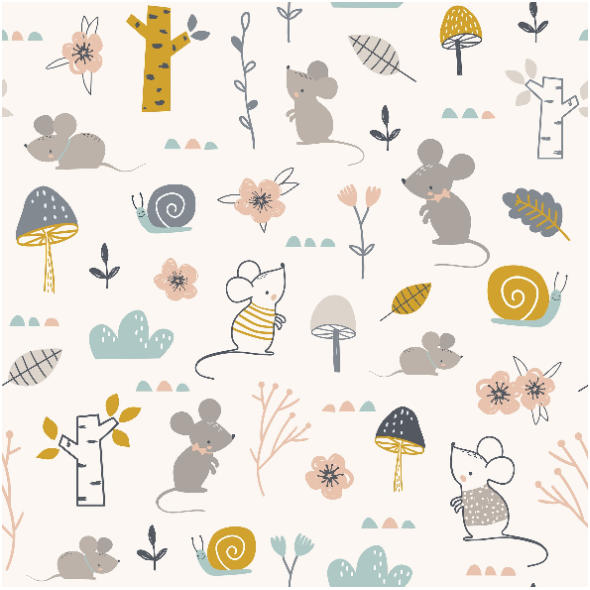 Fabric 16743   Childish pattern with mouses, snails and flowers0
