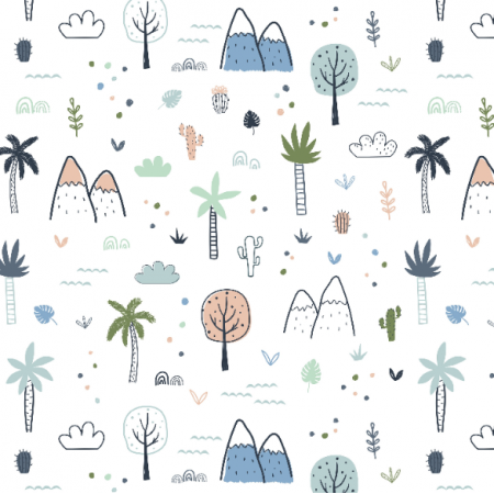 Tkanina 16744 | Childish pattern with palm trees and mountains0