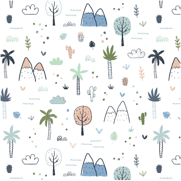 Tkanina 16744 | Childish pattern with palm trees and mountains0