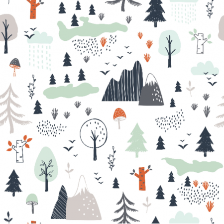 Fabric 16748 | Trees, mountains and clouds0