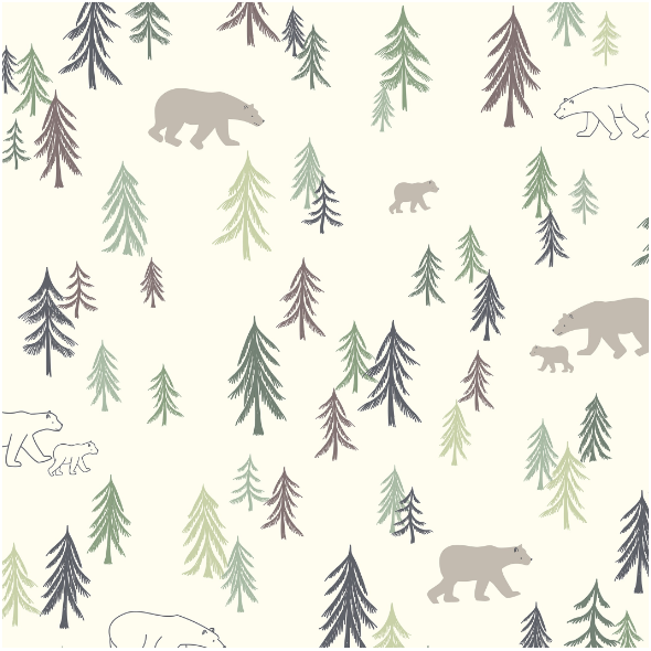 Fabric  | Trees and bears0