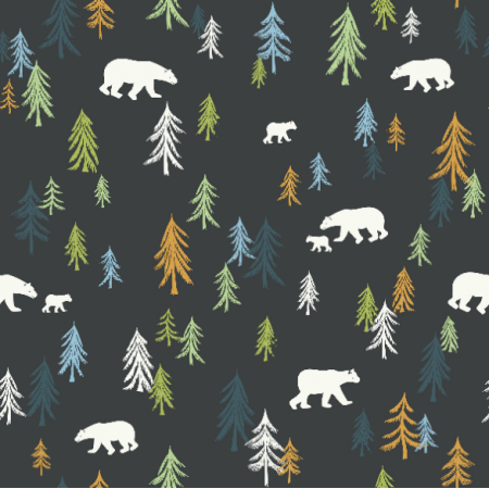 Fabric 16754 | Trees and bears on a dark background0