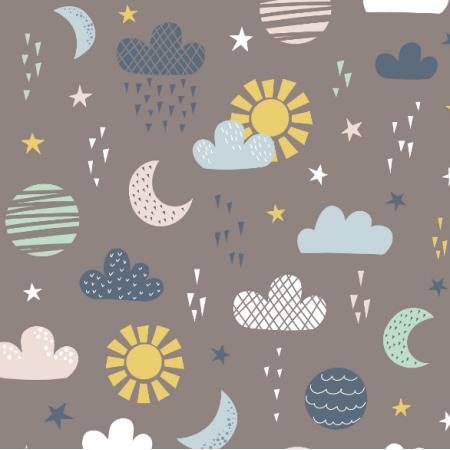 Tkanina 16755 | Sun, moon, clouds and stars0