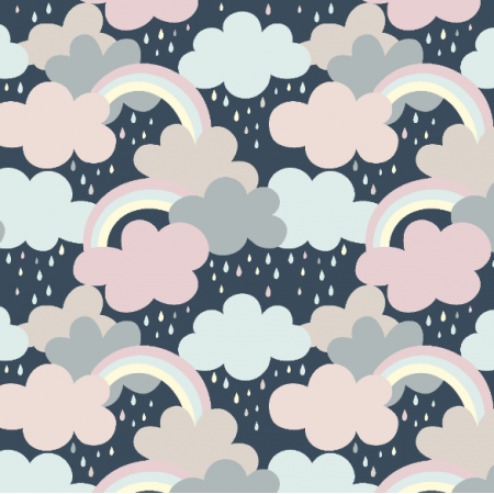 Fabric 16756 | Clouds, rainbow and drops0