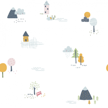 Fabric 16811 | Childish pattern with little houses, trees and mountains0
