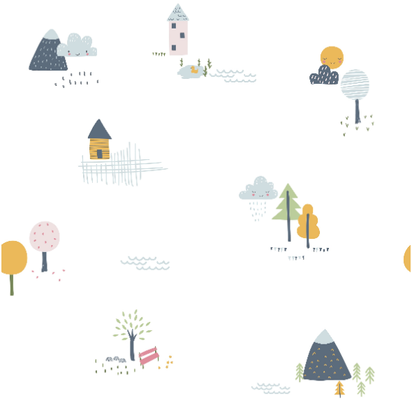 Tkanina 16811 | Childish pattern with little houses, trees and mountains0