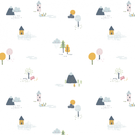 16815 |  Pattern with trees , houses and mountians0