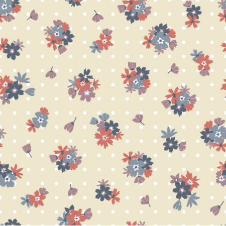 Fabric 16818 | Colorful pattern with flowers and points0
