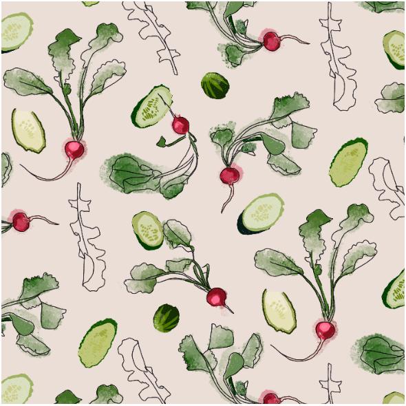 Tkanina 16836 | Radishes and cucumbers/Rzodkiewka i ogóreki