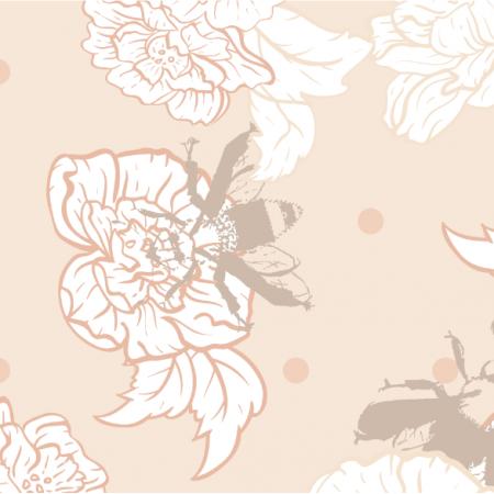 Fabric 16870 | vintage Pszczoły z kwiatami Beż