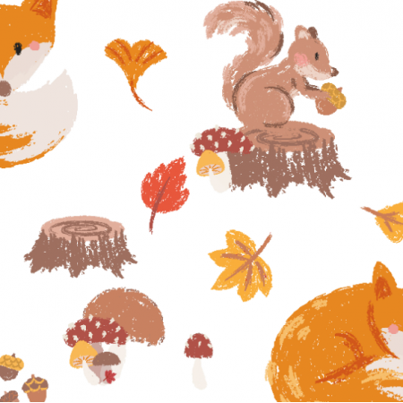 Fabric 16907 | Foxes and mushrooms_001
