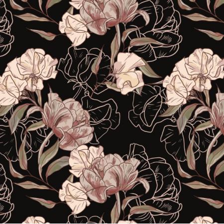Fabric 17077 | KWIATY VINTAGE | na czarnym | mniejsze