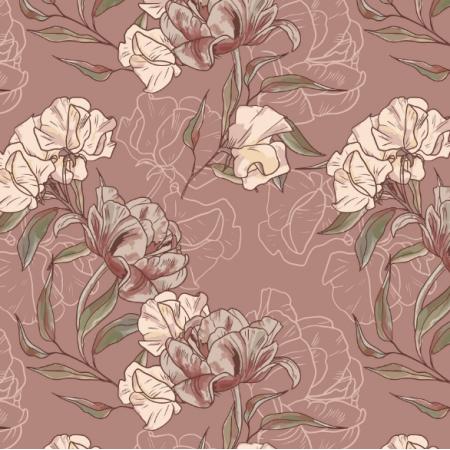 Fabric 17079 | KWIATY VINTAGE | NA RÓŻU | MNIEJSZE