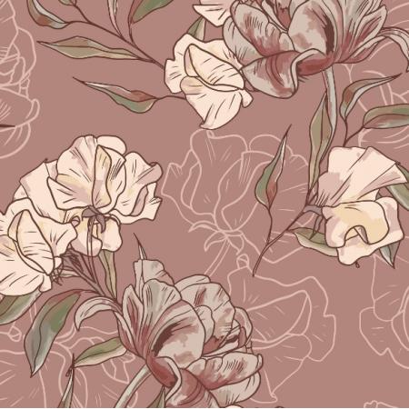 Fabric 17080 | KWIATY VINTAGE | NA RÓŻU | WIĘKSZE