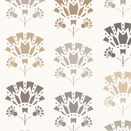 17107 | Art deco lilies beż