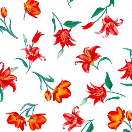 Tkanina 17131 | Tulipany na białym tle