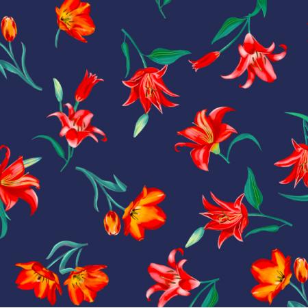 Fabric 17132 | Tulipany na granatowym tle