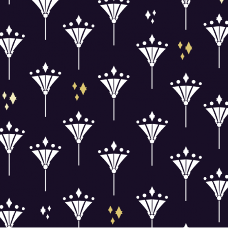 Fabric 17139 | ART Deco Diamond lilies gold