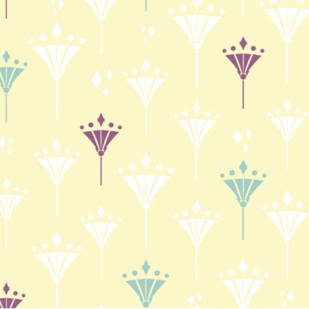 Fabric 17141 | Art deco lilie na żółtym