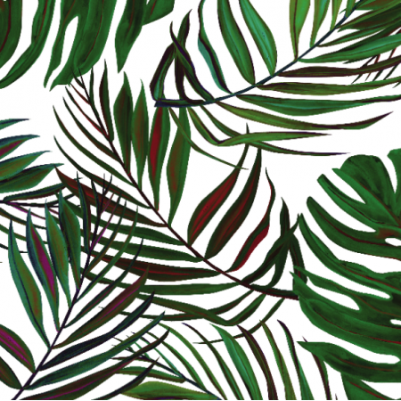 Fabric 17170 | Liscie na białym tle