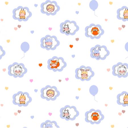 Fabric 17181 | Zwierzaki z balonikami