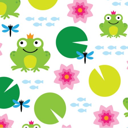 Fabric 17309 | frog nenuphar dragonfly
