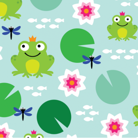 Fabric 17317 | frog nenuphar dragonfly