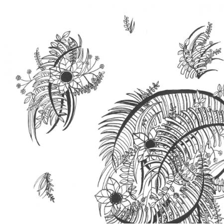 Fabric 17339 | Czarno - białe Kwiaty 000
