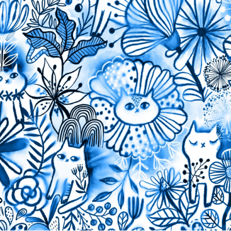 Tkanina 17410 | blue watercolor floral cats. summer flowers, leaves, berries and cute animals.