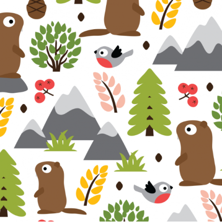 Tkanina 17412 | MARMOTS ON A MOUNTAIN GLADE