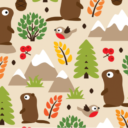 Tkanina 17414 | MARMOTS ON A MOUNTAIN GLADE