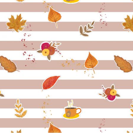 17441 | Autumn Vibes - tkanina z jesiennymi motywami, cieliste paski
