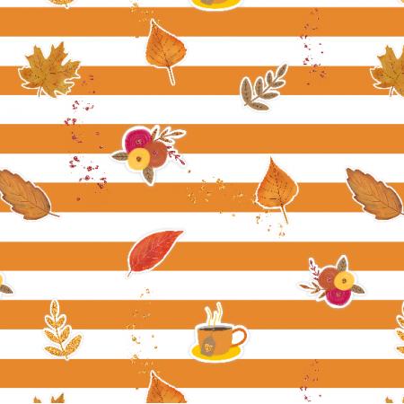 17442 | Autumn Vibes - tkanina z jesiennymi motywami, pomarańczowe paski