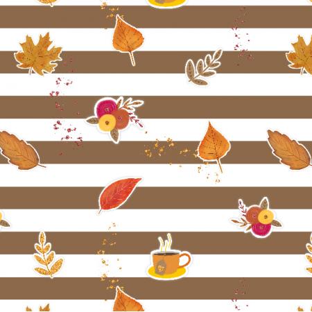 17443 | Autumn Vibes - tkanina z jesiennymi motywami, brązowe paski