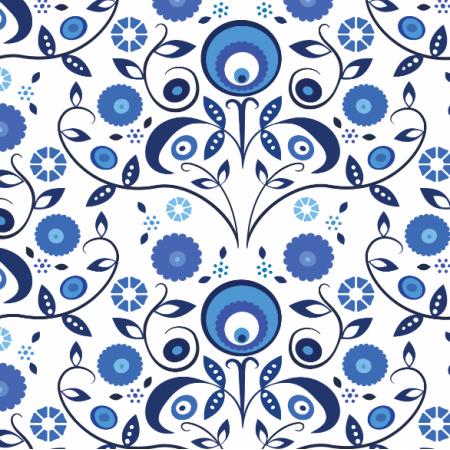 Fabric 1912 | Blue Wycinanki