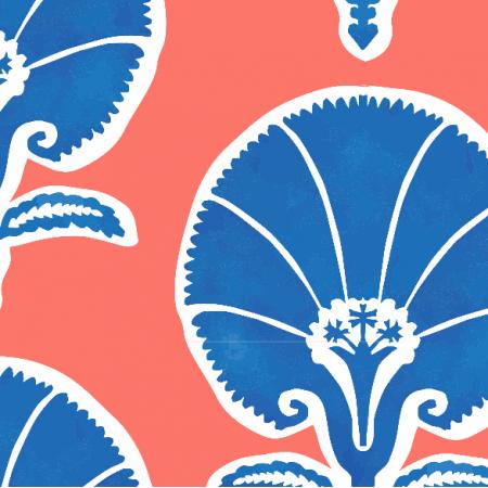 Tkanina 17520 | Islamski Goździk coral