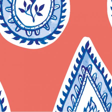 Fabric 17563 | wzór paisley CORAL