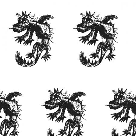Fabric 17679 | Dragon 5 white-black pattern