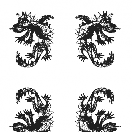 Tkanina 17680 | Dragon 6 white-black pattern