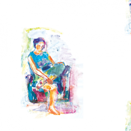 17681 | Sitting girl 1 - watercolour pattern