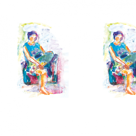 Tkanina 17682 | Sitting girl2 - watercolour pattern