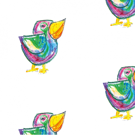 Fabric 17683 | Funny bird - pattern for kids